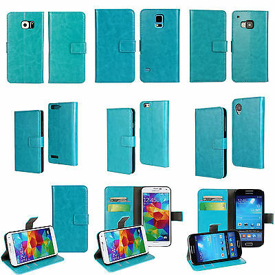 Premium PU Leather Credit Card Slots Business Wallet Flip Case Cover Sky Blue