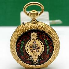 1870's BENJAMIN HAAS JEUNE & Cie 18K SOLID GOLD AND ENAMEL PENDANT POCKET WATCH