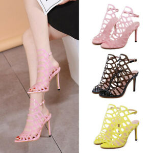 New-Womens-Summer-High-Heel-Sandals-Gladiator-Strappy-Buckle-Pinkycolor-Shoes-Sz