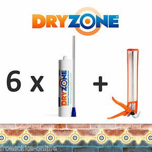 6-x-Dryzone-Injektionscreme-Horizontalsperre-Wandabdichtung-Kellerabdichtung
