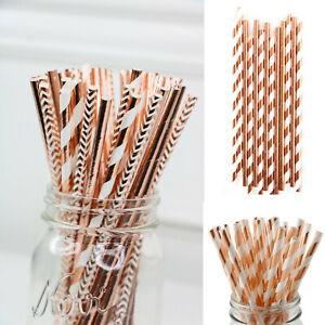 25-200Pcs-Rose-Gold-Wedding-Birthday-Babyshower-Hen-Party-Paper-Straws-Tableware