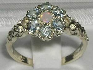 Luxury Ladies Solid 925 Sterling Silver Natural Peridot Victorian Trilogy Ring