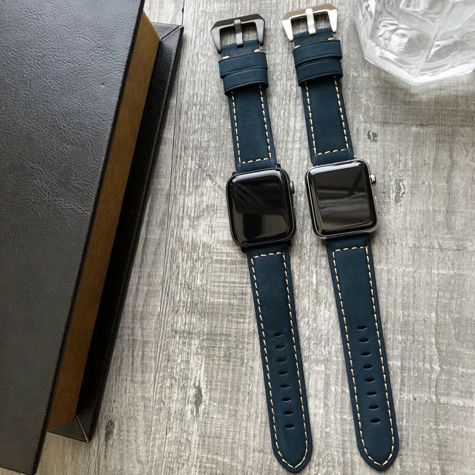 iwatch: Per Orologio Apple Serie 6 Se 5 4 42mm 44mm Blu Toro Pelle Cinturino Iwatch