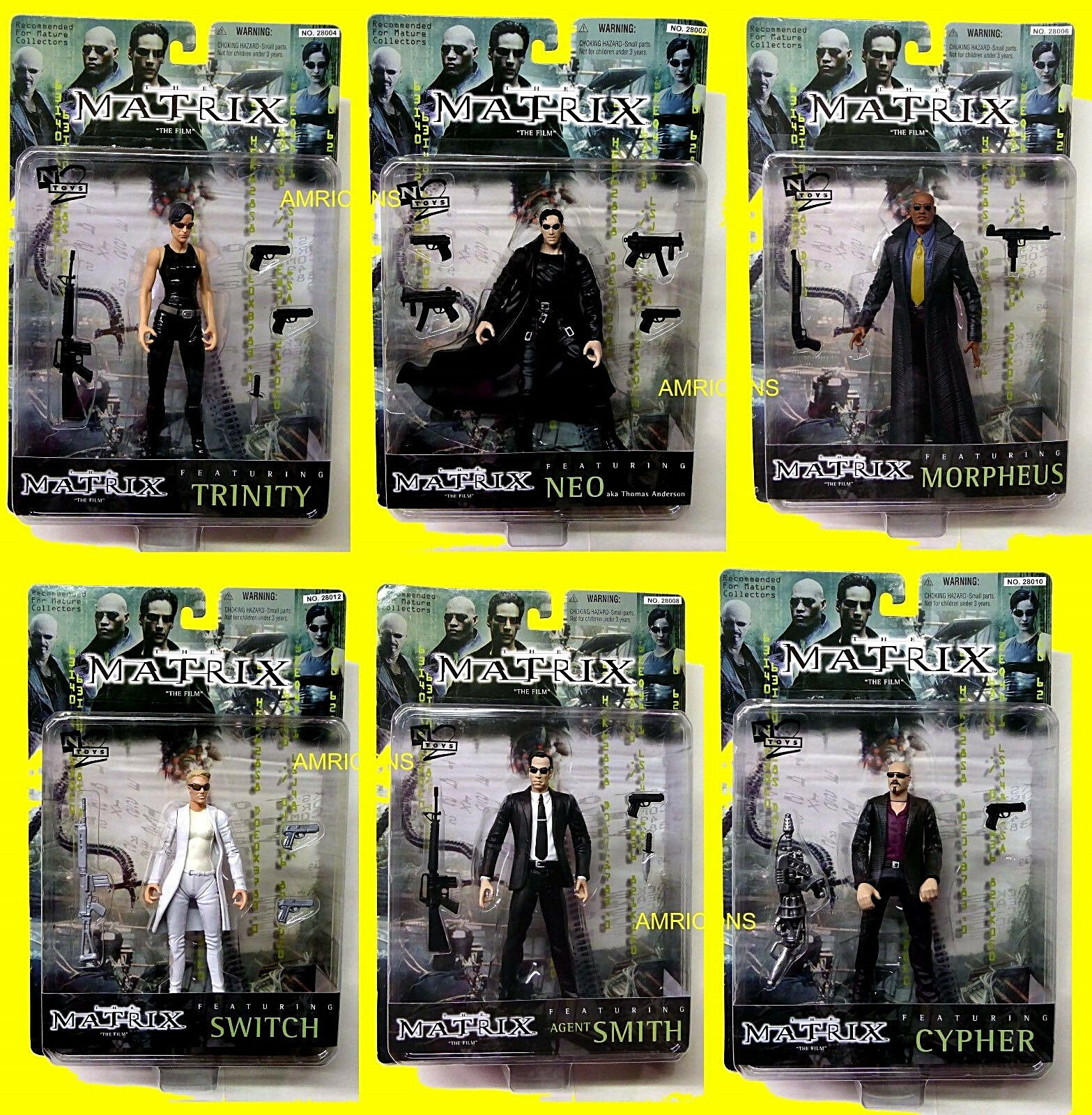 Matrix Series 1 6  Movie Action Figure Set N2 Toys Neo Trinity Morpheus 1999 Nuovo