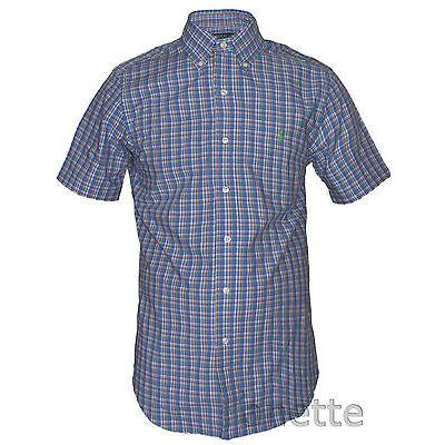 RALPH LAUREN New Check Pattern Men's Shirt Pony Logo Cotton Short Sleeve BNWT