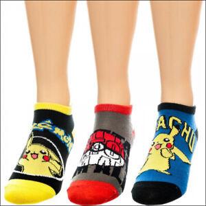 Nintendo-Pokemon-Pikachu-Costume-Ankle-Socks-Women-Men-3-Pack-Pairs-OFFICIAL-NEW