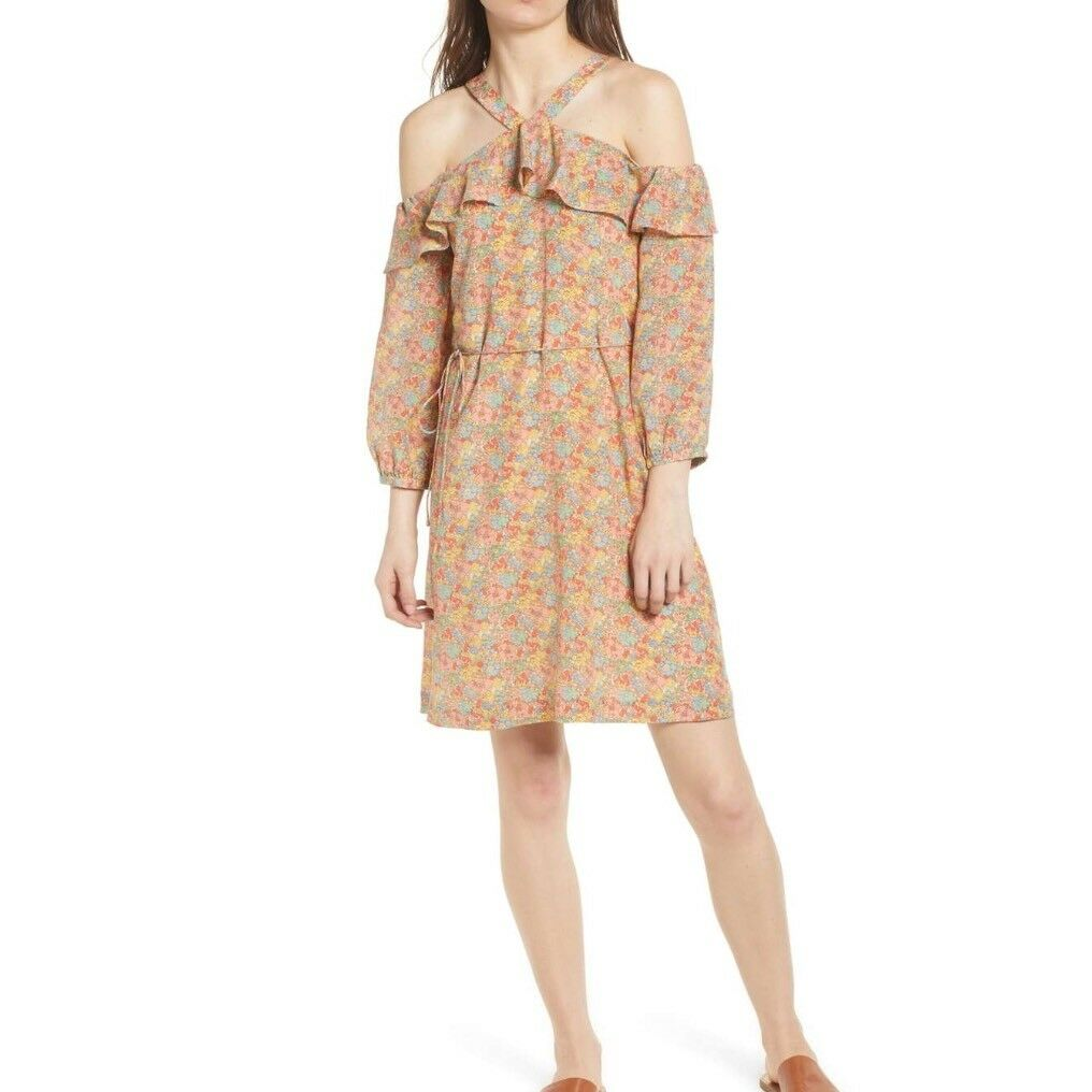 Madewell Silk Forsythia Cold-Shoulder Dress 8 New  Silk In Prairie Blossoms
