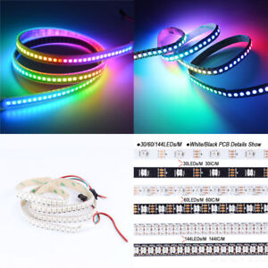 WS2812B-5050-RGB-LED-Strip-30-60-144-LEDs-M-ws2812-IC-Individual-Addressable-5V