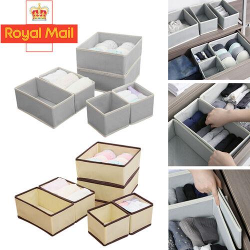 6PCS Foldable Storage Drawer Organiser Box Tidy Socks Bra Ties Draw Divider UK
