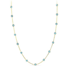 nuovo stile 13ed7 87dcd Dettagli su 14K Oro Giallo Topazio Azzurro Collana in Pietre Dure 45.7cm