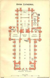 York. Ripon Cathedral 1924 Ancienne Vintage Carte Plan Graphique-afficher Le Titre D'origine Avec Les éQuipements Et Les Techniques Les Plus Modernes