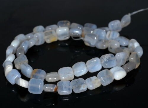 8X8MM CHALCEDONY BLUE AGATE GEMSTONE SQUARE LOOSE BEADS 15.5/""