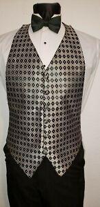 Men/'s Black Satin 5 Button Tuxedo Vest Bow Tie Fit all 37-50 Coat TUXXMAN