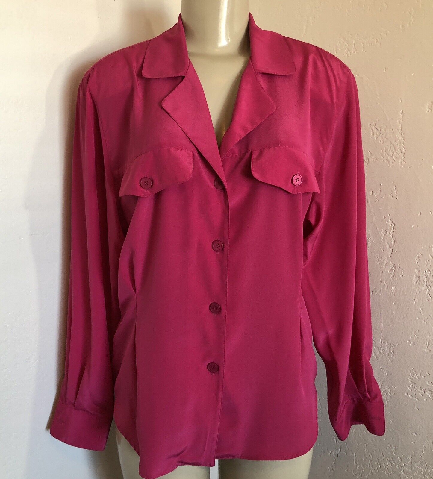 VTG Christian DIOR Chemises Blouse Sz 10 Dark Pink Poly Chiffon Blouse Fitted