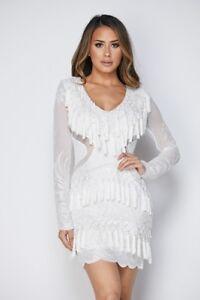 Detalles Acerca De Mini Vestido Kylie Jenner Inspirado Celebridad Con Flecos De Encaje Transparente Ceñido M L Mostrar Título Original