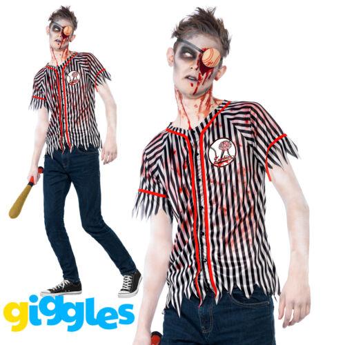 Teen Zombie Baseball Player Costume Boys Halloween Fancy Dress Outfit New