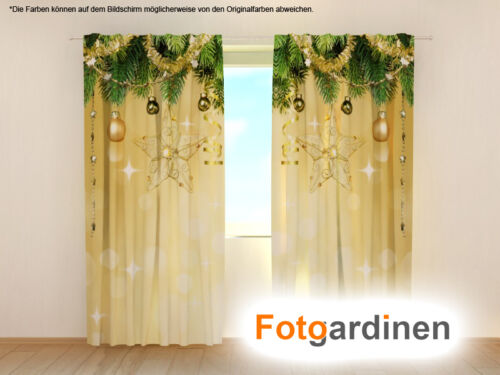"""Fotogardinen /""""Weihnachten/"""" Vorhang mit Motiv Fotovorhang 3D Fotodruck auf Maß"""