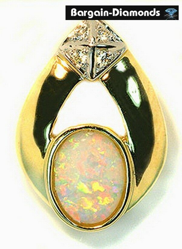Solid Opal  Diamonds 14K gold pendant flash birthstone Australian opale opala
