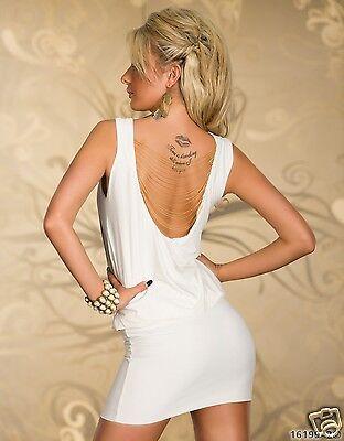 5195-2 Minikleid aus Stretch-Stoff mit Kette Kleid Gr. 36 38 Creme .