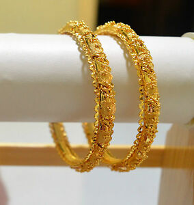 Image is loading South-Indian-Gold-Plated-Bangle-Set-Bracelet-Churi- & South Indian Gold Plated Bangle Set Bracelet Churi Kada Wedding ...