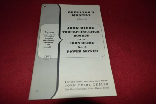 John Deere Three Point Hitch Hookup For No Power Mower Operator/'s Manual DCPA3