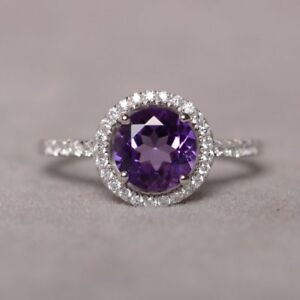 1-60Ct-Round-Cut-Amethyst-Diamond-Halo-Engagement-Ring-In-14K-White-Gold-Finish