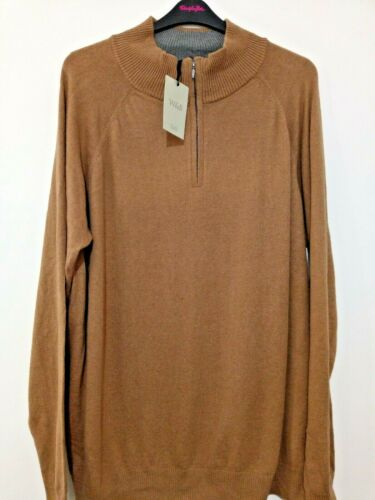 New Williams and Brown Camel zip neck cotton rich jumper sizes 2XL to 3XL refj65
