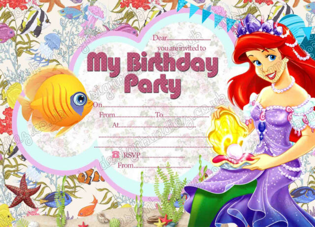 Disney Princess Ariel Birthday Party InvitationsLittle Mermaid 8 Thick Cards