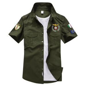 NEW-Men-039-s-Air-Force-Military-Casual-Shirt-Short-Sleeve-Army-Shirts-Dress-Jacket