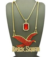 Iced Out Ruby Color Stone Chain & Brick Squad Chain Set.
