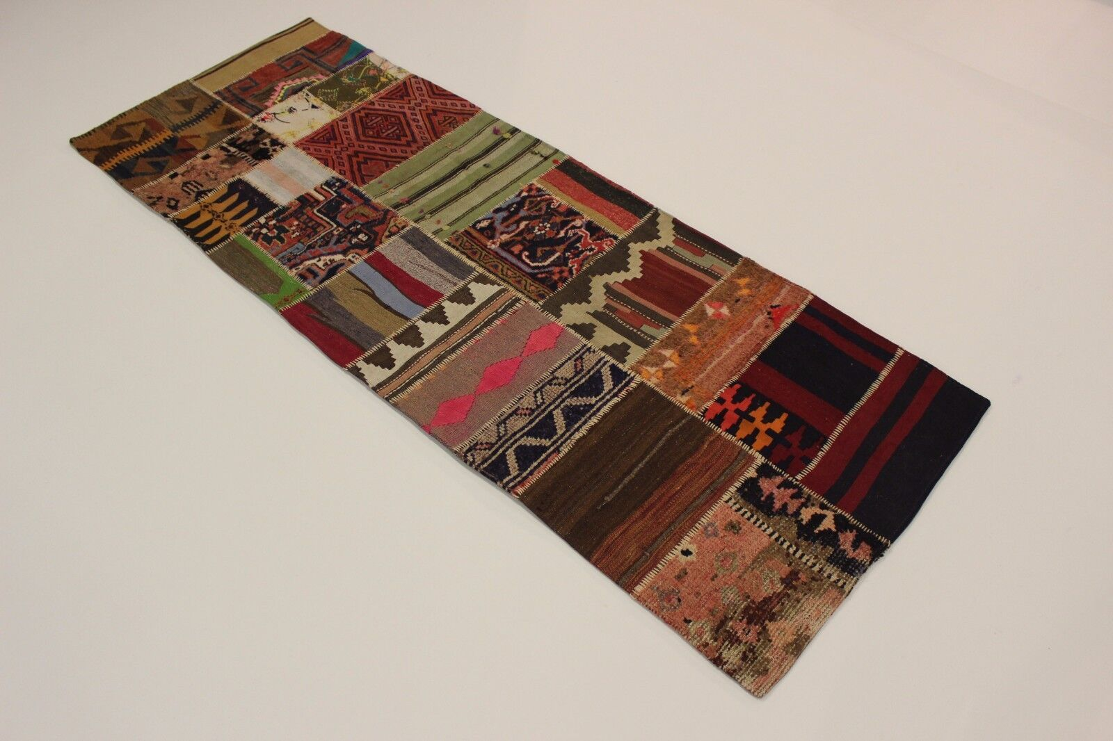 Nomades Kelim Patchwork Look Antique Antique Antique Persan Tapis Tapis D'Orient 2,56 X 0,93 e0ebcc