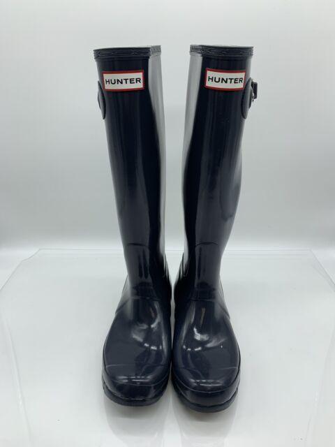 Hunter Womens Original Gloss Tall Rain Boots Navy Blue -4781
