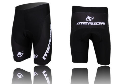 Merida Men's Cycling Shorts Gel Padded Biking Bicycle Short Pants Tights Black
