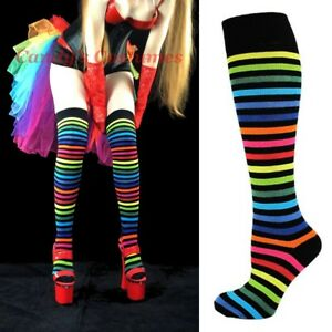 Dark-RAINBOW-Striped-OVER-THE-KNEE-or-Knee-High-SOCKS-Black-COSTUME-Thigh