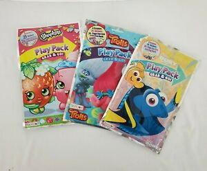 Play-Packs-Set-Of-3-1-qty-Trolls-Shopkins-Dory-Grab-amp-Go-Crayons-Stickers-Book