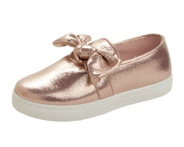 GIRLS ROSE GOLD GLITTER FLAT CASUAL PLIMSOLL PUMPS TRAINERS SHOES UK SIZE 10-2