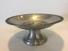 "Vintage 95% Etain Pewter Fruits Centerpiece Footed Bowl, 11 7/8"" D x 5 1/2"" High"