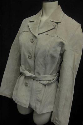 Womens WILSONS MAXIMA SUEDE LEATHER BELTED button up JACKET coat sz XS sand tan
