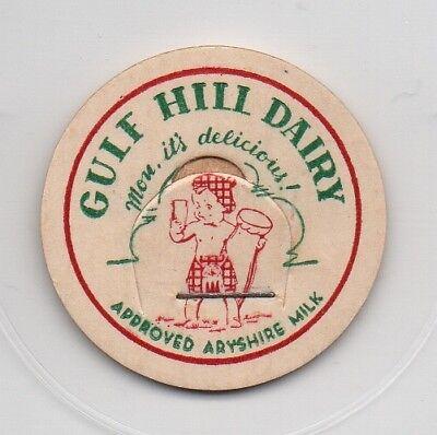 "Gulf Hill Dairy Milk Bottle Cap New York Alexandria Bay ARYSHIRE- 1 5//16/"""