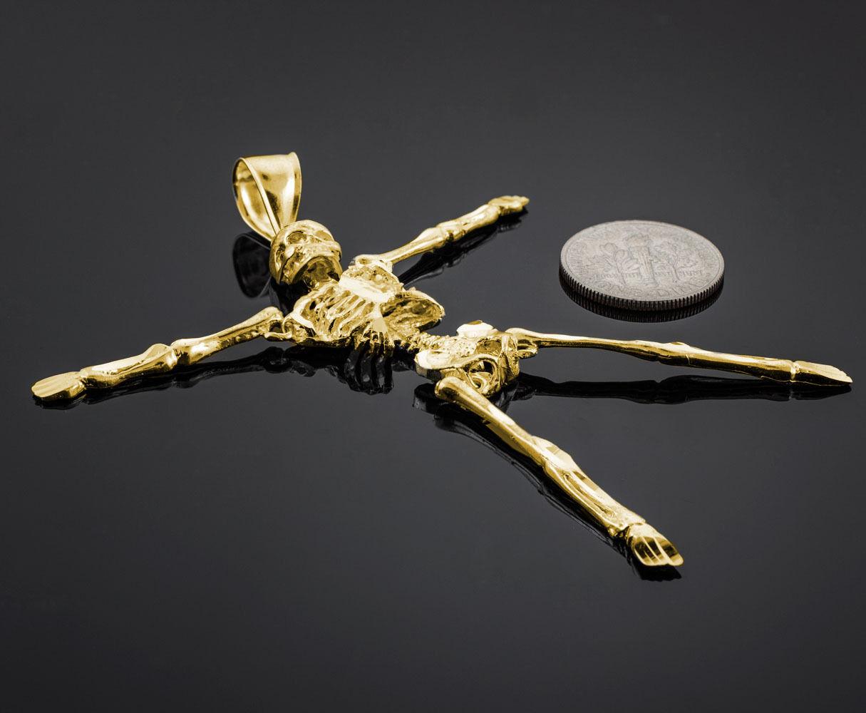 Solido oro Giallo Taglio Diamante Pendente Pendente Pendente Gotico Morte Scheletro Ciondolo ef283e