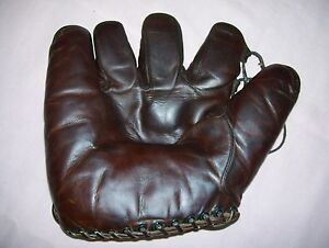 Vintage-Antique-Lefty-O-039-Doul-Tunnel-Loop-Baseball-Glove-New-York-Giants-NICE