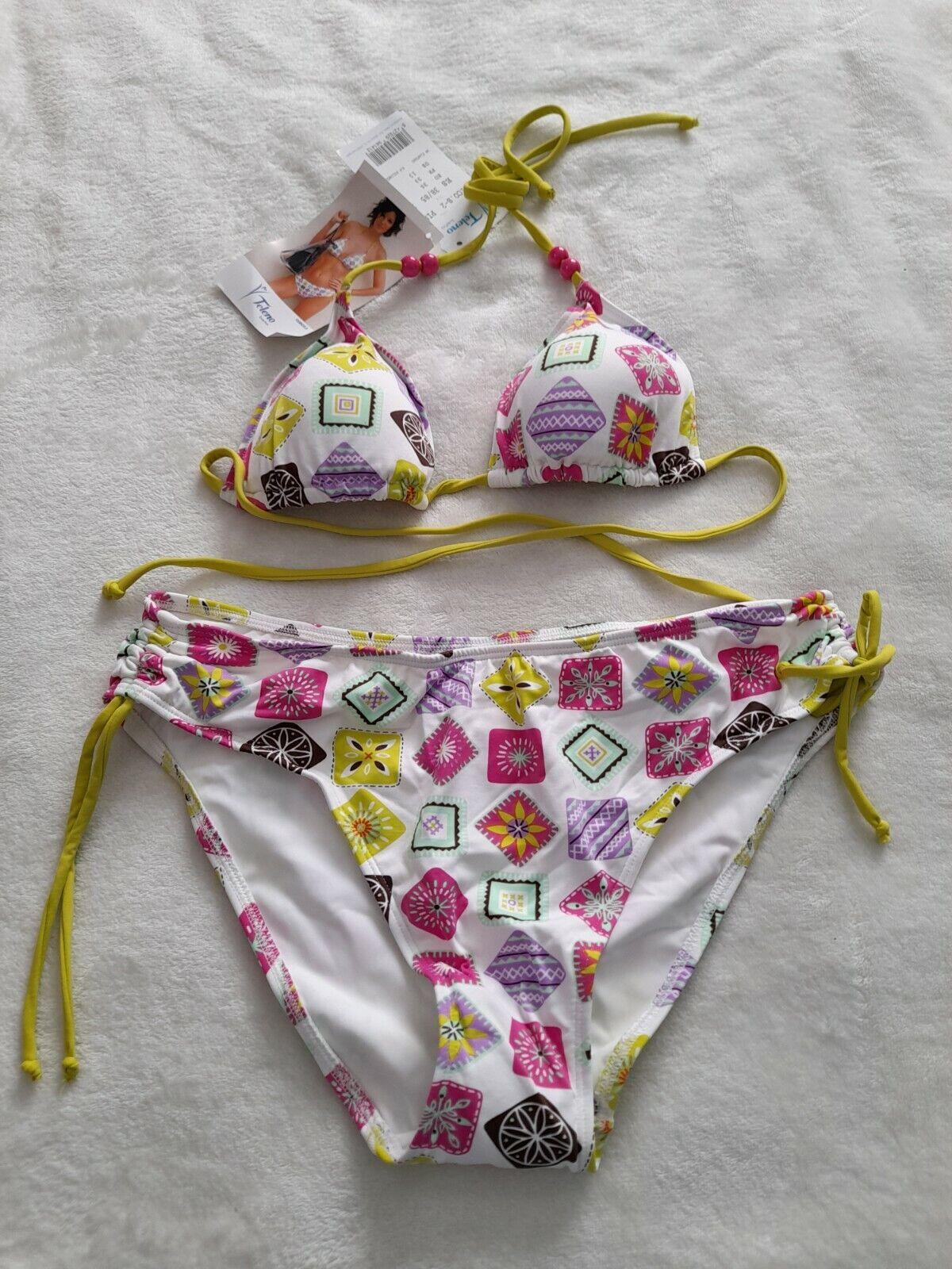 Teleno Damen Triangel Bikini Weiss Bunt Größe 36 B Cup Hub27
