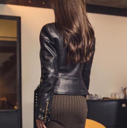 Slim Véritable Cuir Noir Moto Coupe Veste Femmes Motard Style qYF6xT