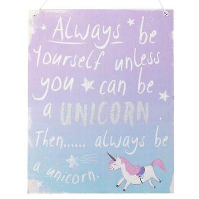Purple Blue Unicorn Sign 24cm High Always Be Yourself Unless .. Unicorn Plaque