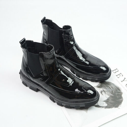 Mens Winter Warm Slip On Dress Shoes Creeper Shiny Patent Leather Ankle Boots sz