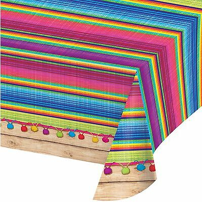 FIESTA SERAPE PLASTIC TABLE COVER PARTY DECORATION MEXICAN TABLECLOTH PHOTO PROP