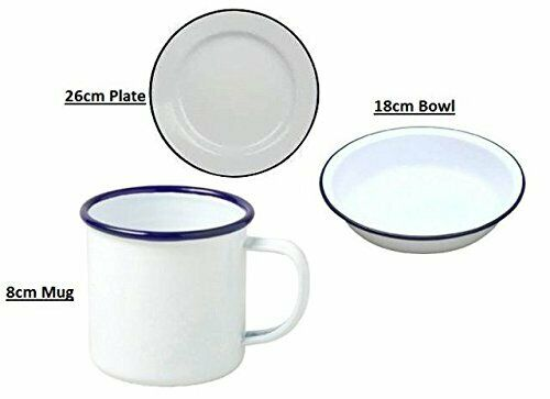 Falcon Enamel White Dinner Set : Plate Camping BBQ Mug /& Bowl fc3