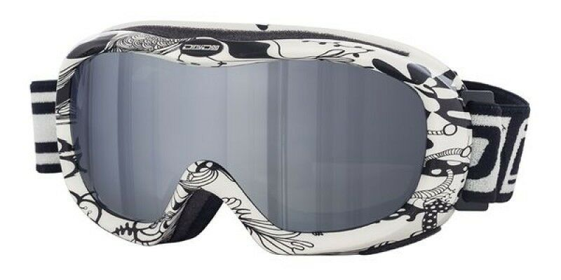 Dirty Dog Ladies Ski Goggles Snowboarding White Floral Grey Flash Lens 54125