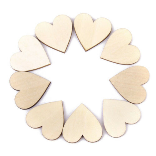 100x de madera corazones formas adornos pequeños Colgante Corazón Liso 2cm//4cm Craft