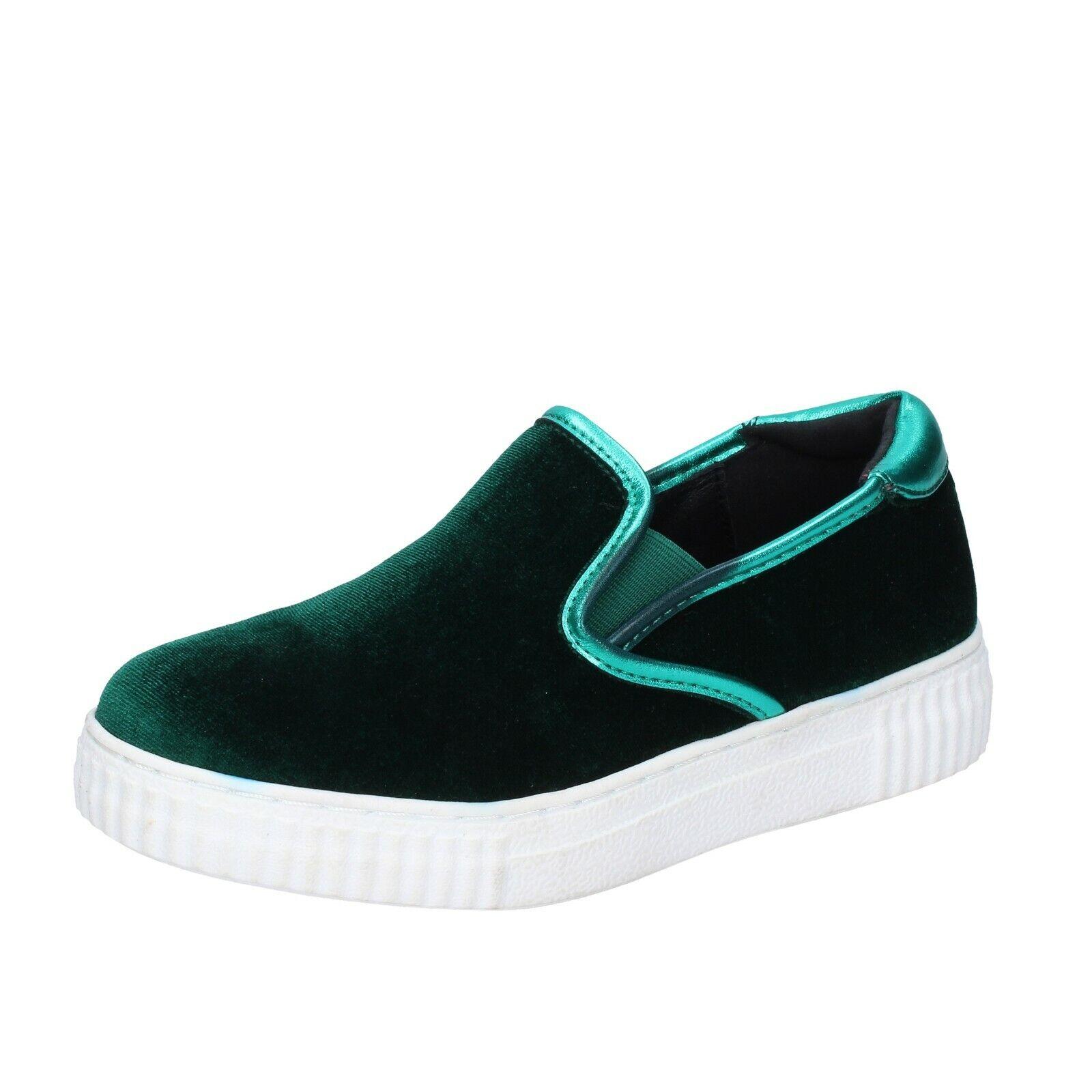 Chaussures Femmes Francesco Milano 35 UE Slip On Vert Velours br31-35